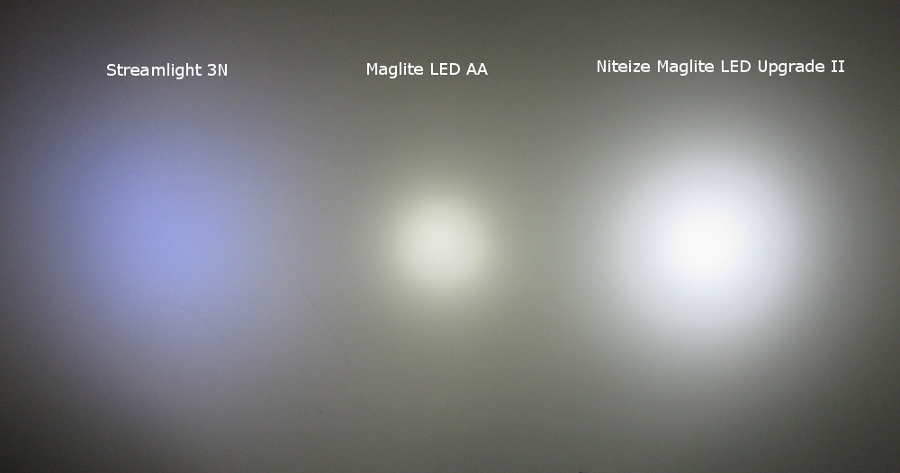 Three L.E.D. beams side-by-side on a dark wall, labeled for comparison.